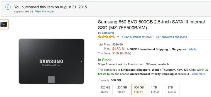 I purchased the Samsung SSD at a much lower price from Amazon than in retail stores in SG.